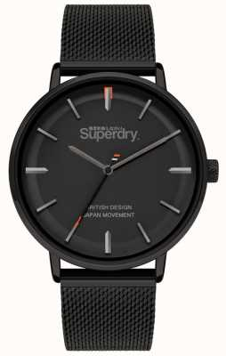 Superdry Ascot xl | zwarte mesh armband | zwarte wijzerplaat | SYG284BM