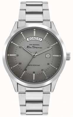 Ben Sherman Heren roestvrij stalen zilveren armband | grijze wijzerplaat | BS022SM