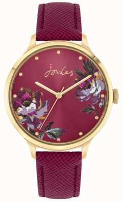 Joules | dames totbury | lederen riem van bessen | bloemen wijzerplaat | JSL021RG