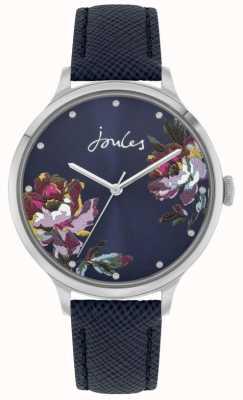 Joules Dames Payton | blauwe lederen band | blauwe bloemen wijzerplaat | JSL021U