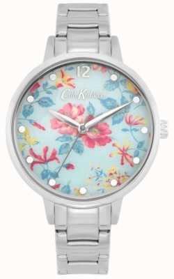 Cath Kidston Pembroke roos | roestvrij stalen armband | blauwe bloemen wijzerplaat CKL084SM
