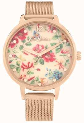 Cath Kidston Pembroke roos | roségouden armband van mesh | bloemen wijzerplaat | CKL085RGM