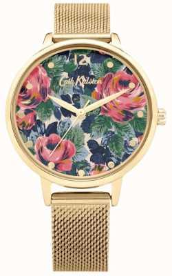 Cath Kidston Pembroke roos | gouden gaas armband | bloemen wijzerplaat | CKL085GM