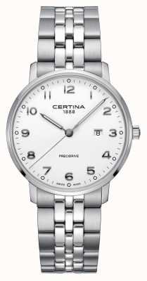 Certina ds caimano | roestvrijstalen zilveren armband | witte wijzerplaat C0354101101200