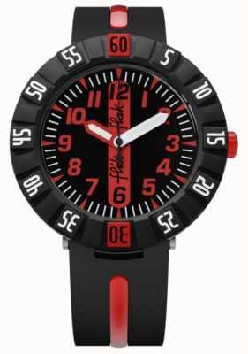 Flik Flak | rood vooruit | zwarte plastic band | zwarte / rode wijzerplaat | FCSP079