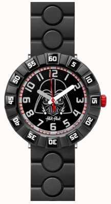 Flik Flak | star wars darth vader | zwarte rubberen band | zwarte wijzerplaat FFLP005