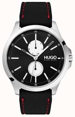 HUGO #springen | zwarte rubberen band | zwarte wijzerplaat | 1530001