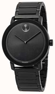 Movado | vetgedrukt | zwarte roestvrijstalen armband | zwarte wijzerplaat | 3600538