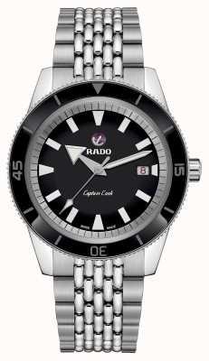 Rado XL 'captain cook' roestvrij stalen armband zwarte wijzerplaat R32505153