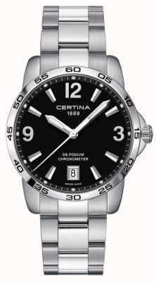 Certina DS podium 40mm | roestvrij stalen armband | zwarte wijzerplaat | C0344511105700