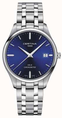 Certina Ds-8 chronometer | roestvrijstalen armband | blauwe wijzerplaat | C0334511104100