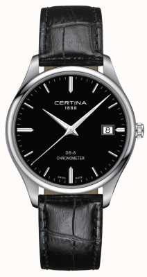 Certina Ds-8 chronometer | zwarte leren band | zwarte wijzerplaat | C0334511605100