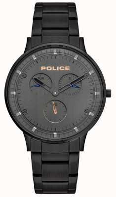 Police | heren Berkeley | zwarte stalen armband | grijze wijzerplaat | 15968JSB/39M