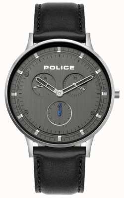 Police | heren Berkeley | zwarte lederen band | grijze wijzerplaat | 15968JS/39