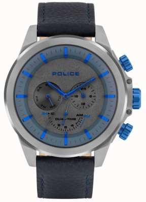 Police | heren belmont | blauwe lederen band | blauwe / grijze wijzerplaat | 15970JSU/61