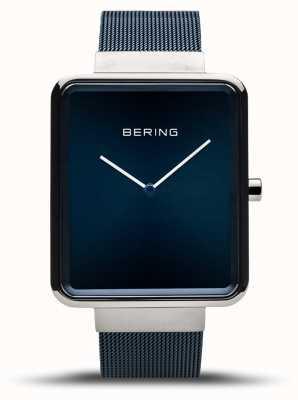Bering | heren klassieker blauwe mesh armband | blauwe wijzerplaat | 14533-307