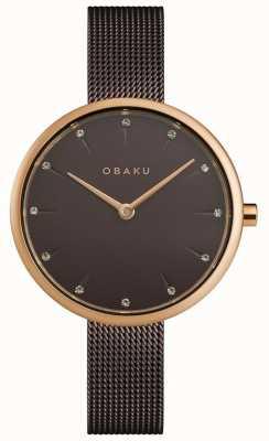 Obaku | notat walnoot voor dames | bruine mesh armband | bruine wijzerplaat | V233LXVNMN