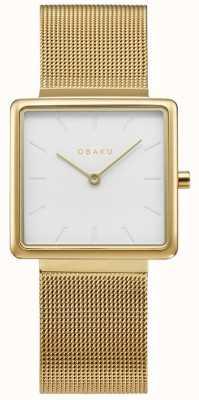 Obaku | dames kvadrat goud | gouden gaas armband | witte wijzerplaat | V236LXGIMG