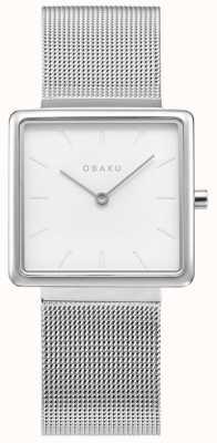 Obaku | dames kvadrat staal | zilveren mesh armband | witte wijzerplaat V236LXCIMC