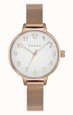 Obaku | dames syren rose | roségouden armband van mesh | witte wijzerplaat V237LXVIMV