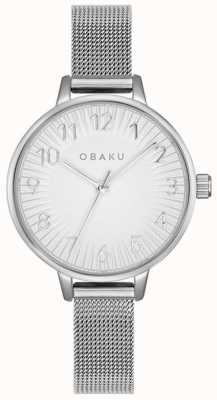 Obaku | dames syren staal | zilveren mesh armband | zilveren wijzerplaat | V237LXCIMC