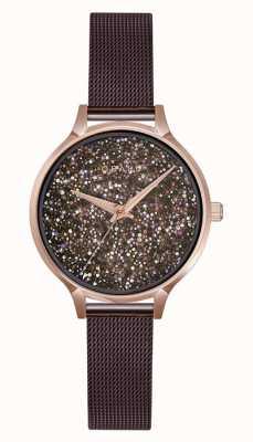 Obaku | dames jerner walnoot | bruine mesh armband | kristal V238LXVNMN