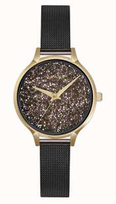 Obaku | dames jerner medaillon | bruine mesh armband | kristal V238LXGBMB