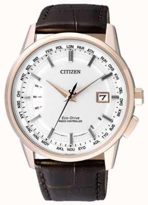 Citizen Wereld eeuwigdurend op | bruine lederen band | witte wijzerplaat | CB0153-21A