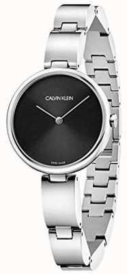 Calvin Klein   roestvrij stalen armband voor dames   zwarte wijzerplaat   K9U23141