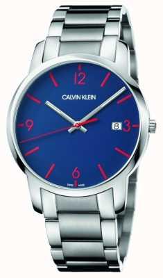 Calvin Klein Heren stad | roestvrij stalen armband | blauwe wijzerplaat K2G2G147