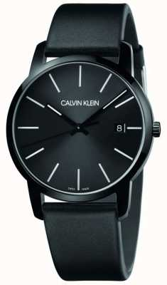 Calvin Klein | mannenstad | zwarte lederen band | zwarte wijzerplaat | K2G2G4CX