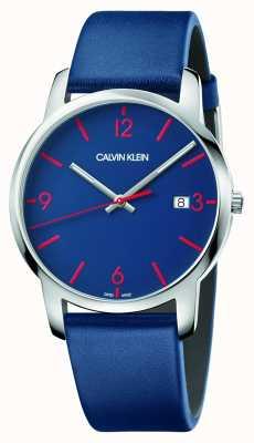 Calvin Klein | mannenstad | blauwe lederen band | blauwe wijzerplaat | K2G2G1VX