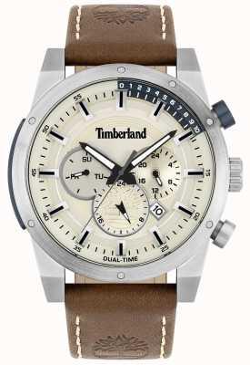 Timberland Buitenzoeker | bruine lederen band | zilveren wijzerplaat | 15951JS/04