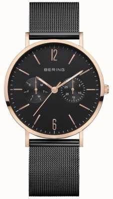 Bering Klassiek dames | zwarte mesh armband | zwarte wijzerplaat | 14236-163