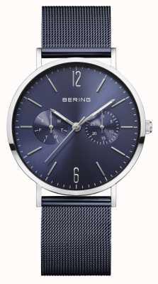 Bering | damesschrijver uit de klassieke oudheid blauwe mesh armband | blauwe wijzerplaat | 14236-303