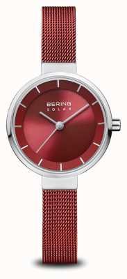 Bering Zonne-energie | gepolijst zilver | rode mesh armband | rode wijzerplaat | 14627-303