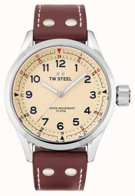 TW Steel | heren | zwitserse volante | crème wijzerplaat | bruine lederen band | SVS101