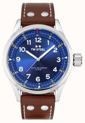 TW Steel | heren | zwitserse volante | blauwe wijzerplaat | bruine lederen band | SVS102