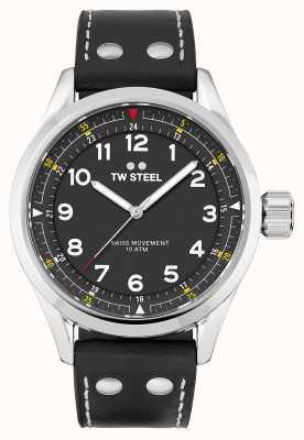 TW Steel | heren | zwitserse volante | zwarte wijzerplaat | zwarte lederen band | SVS103