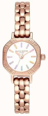 Olivia Burton | regenboog bleke rosé gouden armband | witte wijzerplaat | OB16CC50