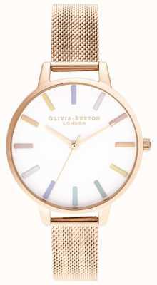 Olivia Burton   dames   regenboog   roségouden armband van mesh   OB16RB24
