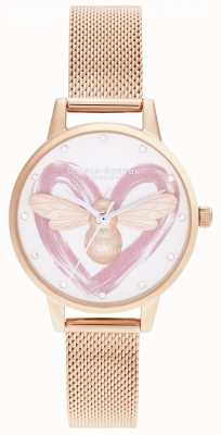 Olivia Burton Lucky Bee, zilver en rose goud gaas OB16FB01