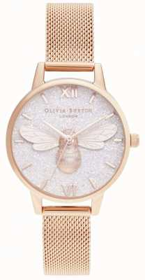 Olivia Burton | glitter wijzerplaat Lucky Bee & Rose Gold Mesh | OB16FB04