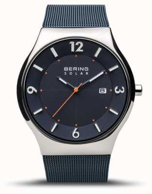 Bering | heren | slank zonne-energie | marineblauw | armband van mesh | 14440-307