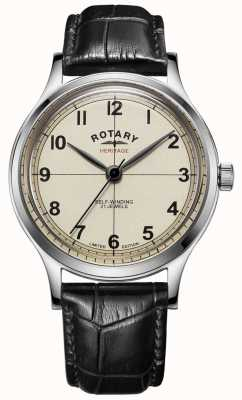 Rotary | heren | beperkte oplage | erfgoed | zwarte lederen band | GS05125/32