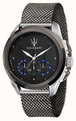 Maserati Traguardo | grijze stalen mesh armband | zwarte wijzerplaat R8873612006