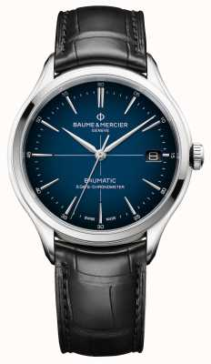 Baume & Mercier Clifton | baumatic | blauwe wijzerplaat | zwarte band M0A10467