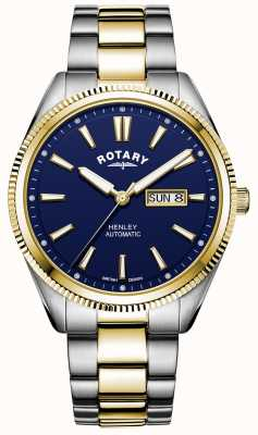 Rotary Heren henley | tweekleurige roestvrij stalen armband | blauwe wijzerplaat GB05381/05