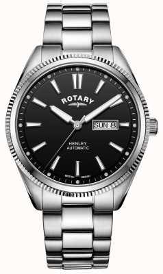 Rotary Heren henley | roestvrij stalen armband | zwarte wijzerplaat | GB05380/04