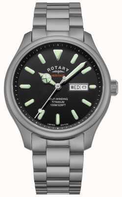 Rotary Henley automatisch heren | titanium armband | zwarte wijzerplaat | GB05249/04